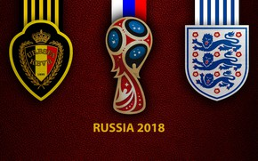 Picture wallpaper, sport, logo, football, FIFA World Cup, Russia 2018, Belgium vs England