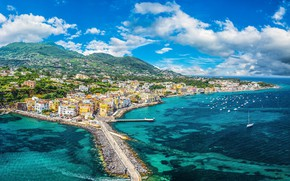 Picture sea, home, yachts, Italy, panorama, Ischia