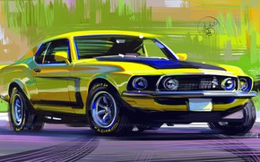 Picture auto, muscle car, drawing, Camaro, the front.Muscle car