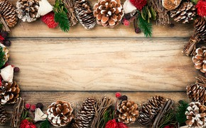 Picture decoration, New Year, Christmas, Christmas, bumps, wood, New Year, decoration, xmas, Merry, fir tree, fir-tree …