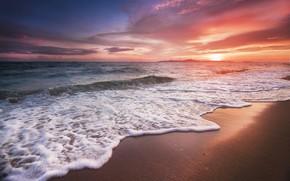 Picture sea, beach, sunset, beach, sea, sunset, pink, seascape, beautiful