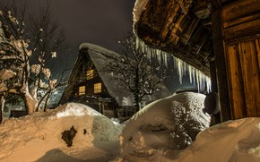 Picture winter, snow, trees, landscape, nature, reflection, village, home, the evening, icicles, Japan, lighting, the snow, …
