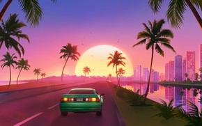 Picture Sunset, The sun, Music, Machine, Style, Background, Car, 80s, Sun, Style, Sunset, Neon, Road, Illustration, …