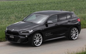 Picture road, car, machine, grass, BMW, drives, black, side, tuning, crossover, BMW X2, black car, BMW …