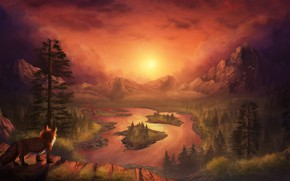 Picture sunset, mountains, nature, Fox, by CreeperMan0508
