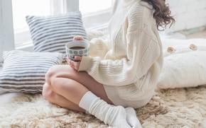 Picture legs, woman, winter, coat, interior, coffee