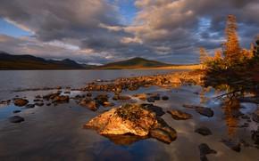 Picture autumn, clouds, landscape, mountains, nature, lake, stones, vegetation, Kolyma, Maxim Evdokimov, the lake of Jack …