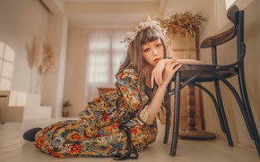 Picture look, girl, pose, hands, makeup, dress, chair, Asian, wreath, on the floor