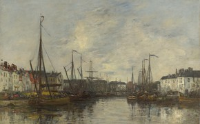 Picture home, ships, picture, port, Eugene Boudin, Eugene Boudin, The Brussels harbour