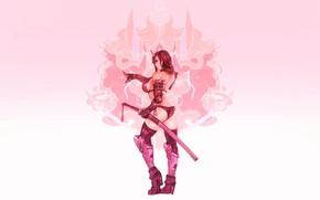 Picture Girl, Sexy, Art, Samurai, Minimalism, Katana, Cyborg, Sword, Characters, Ren Wei Pan, Moonfox, Hannya