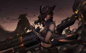 Picture look, girl, weapons, hat, League Of Legends, Senna