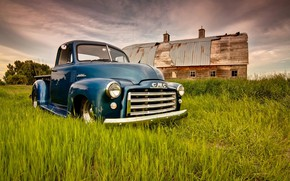 Picture Grass, Blue, Green, Truck, Farm, Gmc