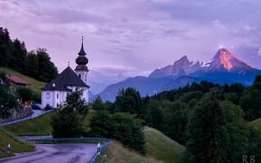 Picture road, landscape, mountains, nature, dawn, morning, Germany, Bayern, Alps, Church, forest, Berchtesgaden, Berchtesgaden, Watzmann