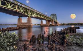 Picture bridge, river, the moon