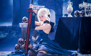Picture look, girl, blue, pose, weapons, table, background, castle, feet, sword, stockings, fantasy, hairstyle, blonde, skull, …