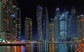 Picture Bay, Dubai, night city, Dubai, skyscrapers, UAE, UAE, Dubai Marina, Dubai Marina