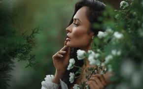 Picture flowers, branches, pose, model, portrait, makeup, brunette, hairstyle, bokeh, Lera Of Vasiljeva