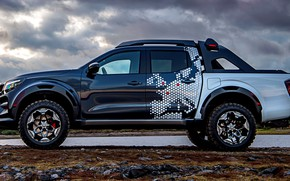 Picture clouds, shore, profile, Nissan, pickup, 2018, Navara, Dark Sky Concept