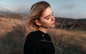 Picture model, portrait, makeup, hairstyle, nature, in black, bokeh, Rus, he closed his eyes, Juliana Naidenova