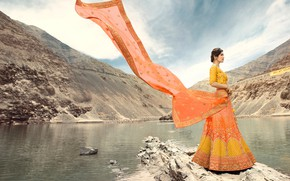 Picture girl, fashion, beautiful, model, brunette, pose, indian, makeup, saree, sari, traditional