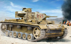 Picture Germany, the Wehrmacht, German medium tank, DAK, Auletta, Afrika Korps, Pz.III Ausf.J, Pz.Kpfw.III Ausf.J