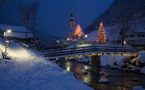 Picture winter, snow, landscape, night, bridge, nature, river, Christmas, Austria, lighting, lights, Church, tree, Ramsau, Ramsau, …