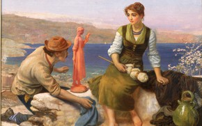 Picture Arthur Hughes, Courtship Potter, 1886 approx.