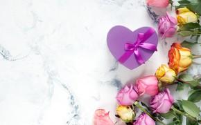 Picture white, background, heart, roses, bouquet, tape, beautiful, Vadim Zakirov
