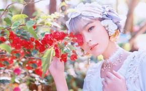 Picture summer, girl, light, flowers, nature, portrait, branch, garden, dress, outfit, Asian, photoshoot