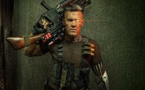 Picture weapons, man, cyborg, Deadpool 2