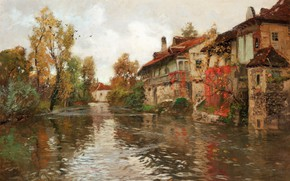 Picture Norwegian painter, 1903, Frits Thaulov, Frits Thaulow, Norwegian impressionist painter, Along the river, Beaulieu, Beaulieu, …