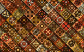 Picture flowers, red, pattern, geometry, brown, ornament