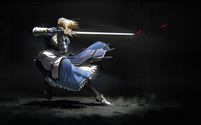 Wallpaper girl, movement, sword, the saber, Fate stay night, Fate / Stay Night