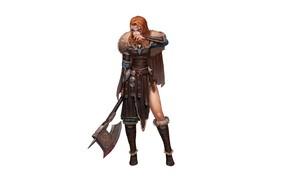 Picture Girl, Fantasy, Art, Style, Warrior, Background, Illustration, Weapon, Viking, Minimalism, Character, Kim Sunhong, Viking Warrior