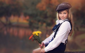 Picture bouquet, girl, hat