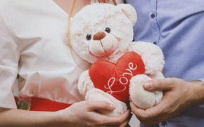 Picture girl, toy, bear, love, guy, heart