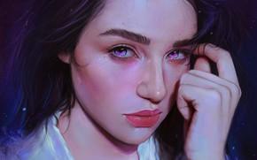 Picture Girl, Look, Lips, Face, Girl, Eyes, Art, Illustration, Portrait, Characters, Arthur Henri, by Arthur Henri, …