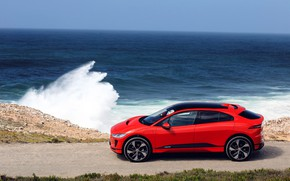 Picture machine, landscape, red, wave, Jaguar, red car, Jaguar I-Pace EV400 AWD HSE First Edition 2018