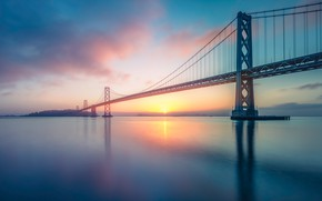 Picture the sky, the sun, clouds, sunset, bridge, dawn, the evening, morning, Bay, USA, pond, San …