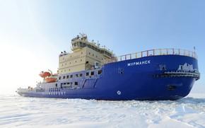 Picture Winter, Snow, Board, Ice, Icebreaker, The ship, Ice, Murmansk, Rosmorrechflot, Rosmorport, Icebreaker Murmansk, Project 21900