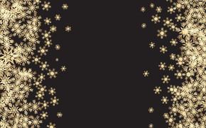 Picture background, snowflakes, texture, gold, black, snowflakes