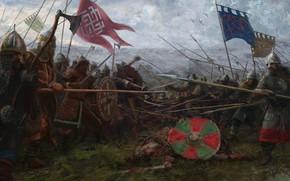 Wallpaper the sky, weapons, flag, warrior, Battle, battle, armor