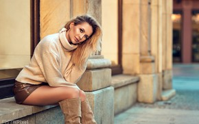 Picture look, sexy, pose, street, model, the building, skirt, portrait, boots, makeup, figure, hairstyle, blonde, legs, …