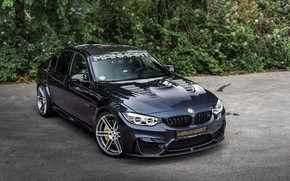 Picture car, machine, trees, tuning, BMW, black, tuning, BMW M3, Manhart, black car, Manhart MH3 550, …