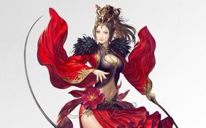Picture Girl, Fantasy, Beautiful, Sexy, Art, Asian, Style, Minimalism, Characters, Dress, Diao Chan, Donfoo, Cyou