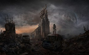 Picture Clouds, Apocalypse, Moscow, Destruction, Art, Igor Solovyev, Apocalypse art, by Igor Solovyev