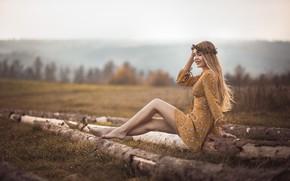 Picture girl, nature, pose, smile, hair, dress, blonde, legs, beauty, bokeh, Jiri Tulach