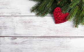Picture decoration, heart, New Year, Christmas, love, christmas, heart, wood, merry, decoration, fir tree, fir-tree branches