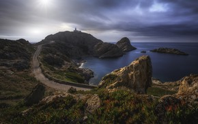 Picture road, coast, lighthouse, Bay