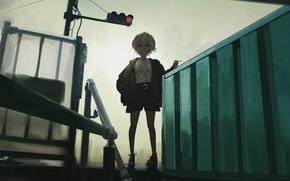 Picture traffic light, cigarette, ladder, girl